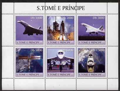 St Thomas & Prince Islands 2003 Concorde & Space Shuttle perf sheetlet containing 6 values unmounted mint Mi 2206-11, Sc 1534