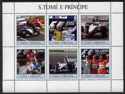St Thomas & Prince Islands 2003 Formula 1 #1 perf sheetlet containing 6 values unmounted mint Mi 2265-70, Sc 1548