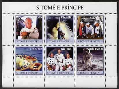 St Thomas & Prince Islands 2003 Space #1 perf sheetlet containing 6 values unmounted mint Mi 2212-17, Sc 1532