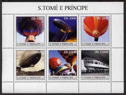 St Thomas & Prince Islands 2003 Balloons & Airships perf sheetlet containing 6 values unmounted mint Mi 2194-99, Sc 1528