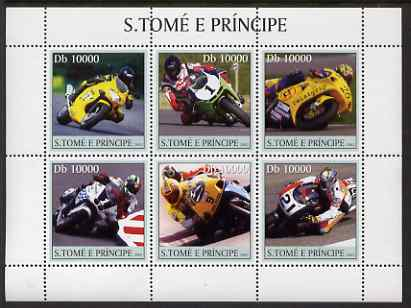 St Thomas & Prince Islands 2003 Motorcycles perf sheetlet containing 6 values unmounted mint Mi 2253-58, Sc 1550
