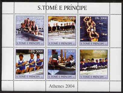 St Thomas & Prince Islands 2003 Rowing perf sheetlet containing 6 values unmounted mint Mi 2174-79, Sc 1574