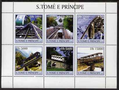 St Thomas & Prince Islands 2003 Mountain Railways perf sheetlet containing 6 values unmounted mint Mi 2296-2301, Sc 1557