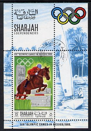 Sharjah 1968 Olympics (Show Jumping & Yacht) cto used m/sheet Mi BL40