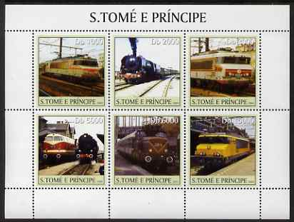 St Thomas & Prince Islands 2003 French Trains perf sheetlet containing 6 values unmounted mint Mi 2314-19, Sc 1559