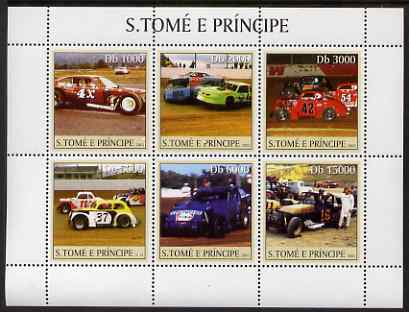 St Thomas & Prince Islands 2003 Stock cars perf sheetlet containing 6 values unmounted mint Mi 2247-52, Sc 1547
