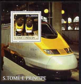 St Thomas & Prince Islands 2003 Eurostar Locomotives perf s/sheet containing 1 value unmounted mint Mi BL472, Sc 1571