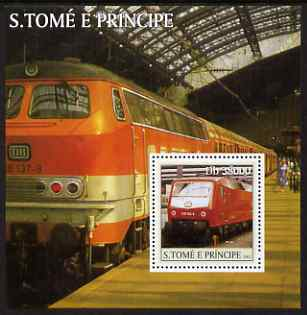 St Thomas & Prince Islands 2003 Railway Locomotives #1 perf s/sheet containing 1 value unmounted mint Mi BL469, Sc 1565