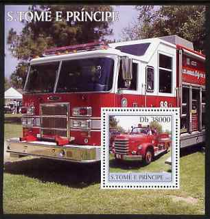 St Thomas & Prince Islands 2003 Fire Engines perf s/sheet containing 1 value unmounted mint Mi BL462, Sc 1476