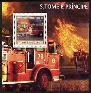 St Thomas & Prince Islands 2003 Old Fire Engines perf s/sheet containing 1 value unmounted mint Mi BL461, Sc 1575