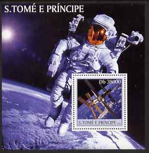 St Thomas & Prince Islands 2003 Space #2 perf s/sheet containing 1 value unmounted mint Mi BL455, Sc 1536, stamps on space