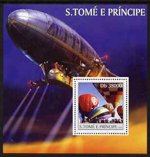 St Thomas & Prince Islands 2003 Balloons & Airships perf s/sheet containing 1 value unmounted mint Mi BL451, Sc 1529, stamps on aviation, stamps on balloons, stamps on airships, stamps on zeppelins