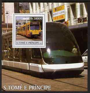 St Thomas & Prince Islands 2003 Trams perf s/sheet containing 1 value unmounted mint Mi BL463, Sc 1572
