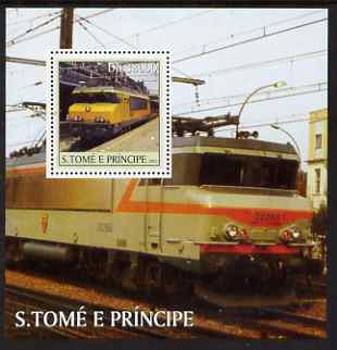 St Thomas & Prince Islands 2003 French Trains perf s/sheet containing 1 value unmounted mint Mi BL467, Sc 1569