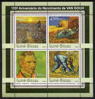 Guinea - Bissau 2003 150th Birth Anniversary of Vincent Van Goth perf sheetlet containing 4 values unmounted mint Mi 2097-2100