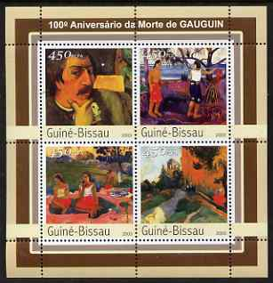 Guinea - Bissau 2003 Death Centenary of Gauguin perf sheetlet containing 4 values unmounted mint Mi 2101-04