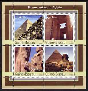Guinea - Bissau 2003 Monuments of Egypt #2 perf sheetlet containing 4 values unmounted mint Mi 2126-29
