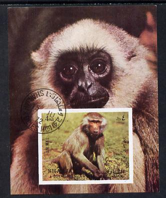 Sharjah 1972 Monkeys imperf m/sheet cto used Mi 117
