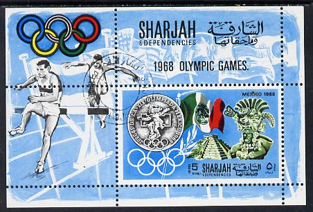Sharjah 1968 Olympics (Medal, Mexican Art, Flag & Steeplechase) perf m/sheet cto used (Mi BL 41A)