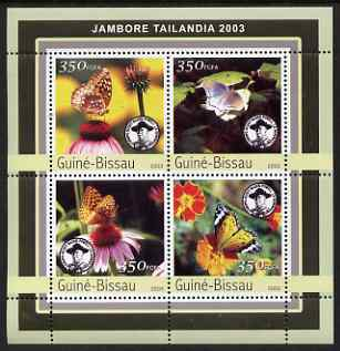 Guinea - Bissau 2003 Tailandia Scout Jamboree & Butterflies perf sheetlet containing 4 values unmounted mint Mi 2033-36