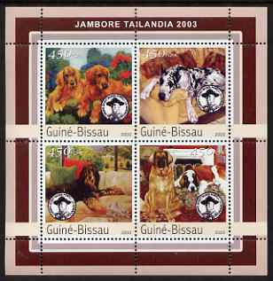 Guinea - Bissau 2003 Tailandia Scout Jamboree & Dogs perf sheetlet containing 4 values unmounted mint Mi 2037-40