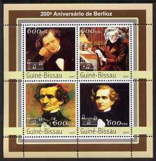 Guinea - Bissau 2003 200th Birth Anniversary of Berlioz perf sheetlet containing 4 values unmounted mint Mi 2160-63