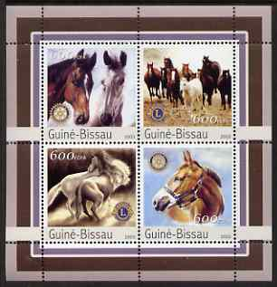Guinea - Bissau 2003 Horses perf sheetlet containing 4 values (with Lions Int & Rotary Logos) unmounted mint Mi 2152-55