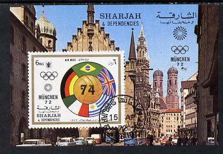 Sharjah 1972 Football (With Olympic Rings) imperf m/sheet cto used (Mi BL 148)