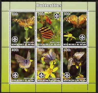 Benin 2004 Butterflies perf sheetlet containing set of 6 values each with Scouts logo, cto used