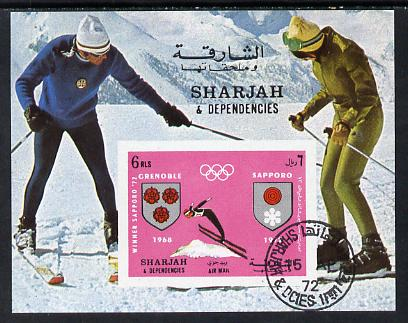 Sharjah 1967 Winter Olympics (Skiing) imperf m/sheet cto used (Mi BL 85)
