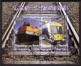 Benin 2007 Railways #1 perf sheetlet containing 2 values fine cto used