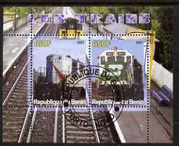 Benin 2007 Railways #2 perf sheetlet containing 2 values fine cto used , stamps on railways