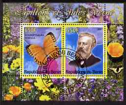 Benin 2007 Butterflies & Jules Verne #1 perf sheetlet containing 2 values fine cto used