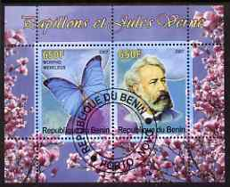 Benin 2007 Butterflies & Jules Verne #2 perf sheetlet containing 2 values fine cto used