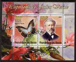 Benin 2007 Butterflies & Jules Verne #4 perf sheetlet containing 2 values fine cto used