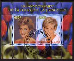 Benin 2007 10th Death Anniversary of Princess Diana #1 perf sheetlet containing 2 values fine cto used