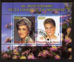 Benin 2007 10th Death Anniversary of Princess Diana #2 perf sheetlet containing 2 values fine cto used