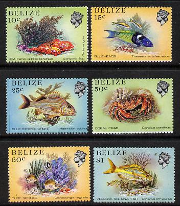 Belize 1984-88 Marine Life def set of 6 values perf 13.5 unmounted mint, SG 772-6B & 778B
