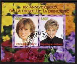 Benin 2007 10th Death Anniversary of Princess Diana #3 perf sheetlet containing 2 values fine cto used