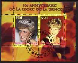 Benin 2007 10th Death Anniversary of Princess Diana #4 perf sheetlet containing 2 values fine cto used