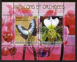 Djibouti 2007 Butterflies & Orchids #2 perf sheetlet containing 2 values fine cto used
