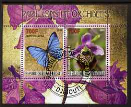 Djibouti 2007 Butterflies & Orchids #3 perf sheetlet containing 2 values fine cto used