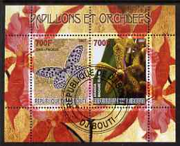 Djibouti 2007 Butterflies & Orchids #4 perf sheetlet containing 2 values fine cto used
