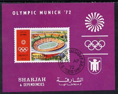 Sharjah 1972 Olympic Games (Stadium) imperf m/sheet cto used (Mi BL 149)