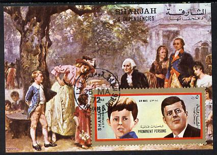 Sharjah 1972 (?) Prominent Persons (Kennedy) 2r imperf m/sheet cto used (with Painting)