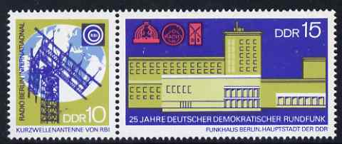 Germany - East 1970 25th Anniversary of DDR Broadcasting Service se-tenant perf set of 2 unmounted mint, SG E1294-95