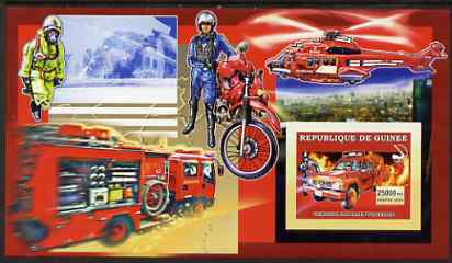 Guinea - Conakry 2006 Japanese Fire Engines large imperf s/sheet containing 1 value (with Helicopter & Motorcycle) unmounted mint