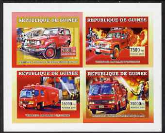 Guinea - Conakry 2006 Japanese Fire Engines imperf sheetlet containing 4 values unmounted mint