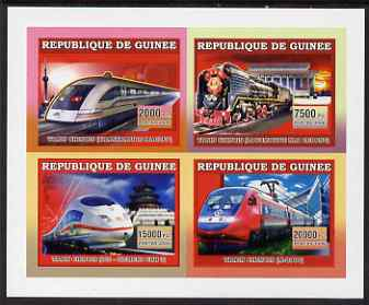Guinea - Conakry 2006 Chinese Trains imperf sheetlet containing 4 values unmounted mint