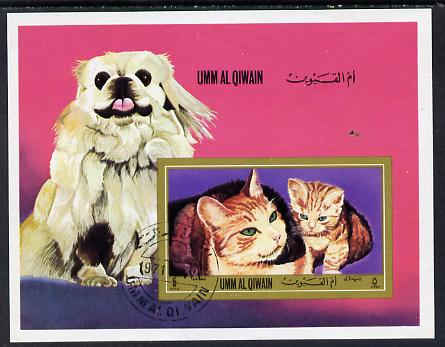 Umm Al Qiwain 1972 Cats & Dogs imperf m/sheet cto used (Mi BL 55B)